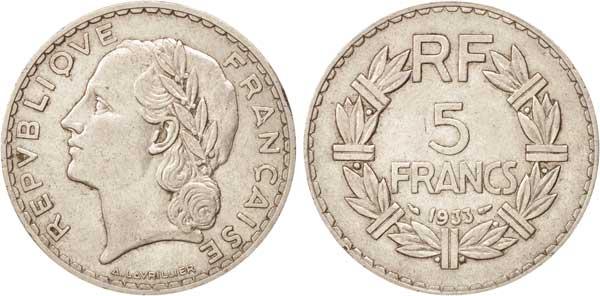 5 Francs 1933, Kursmünze,  Nickel, 12,00 g, Ø 31 mm