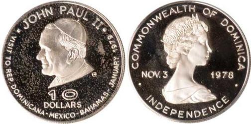 10 Dollars 1979, Dominica, Papstbesuch, 925er Silber,  20,5 g, Ø 36,00 mm, Münzstätte Valcambi SA