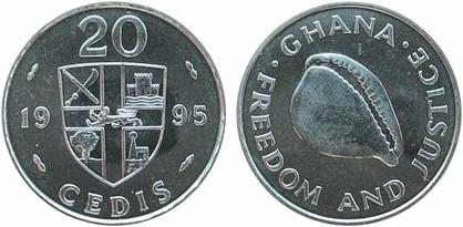 20 Cedis 1995, Kursmünze, Eisen mit Nickel galvanisiert, 5,4 g, Ø 24,5 mm