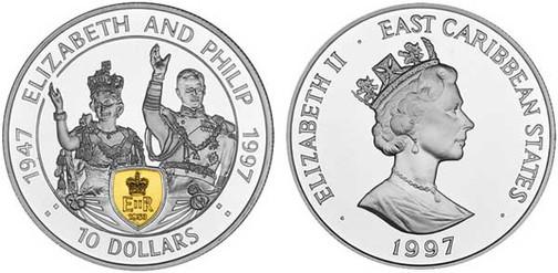 10 Dollars 1997, East Caribbean States, 50. Hochzeitstag von Königin Elisabeth II. u. Prinz Philip, 925er Silber, teilweise vergoldet, 28,28 g, Ø 38,61 mm, Münzstätte British Royal Mint