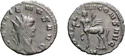 Gallienus (253–268). Antoninian 267/268, Münzstätte Rom. Brustbild mit Strahlenkrone nach rechts, Umschrift: GALLIENUS AVG Rs.: Kentaur mit Umschrift:  APOL – LI – NI CONS AVG,  unten N (= Kennzeichen der Offizin)