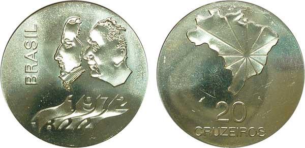 """20 Cruzeiros 1972, """"150 Jahre  Unabhängigkeit"""", Silber 900/1000, 18,04 g,  Ø 34,2 mm, Auflage 502 000 Exemplare"""