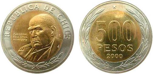 500-Pesos-Kursmünze 2000,  Bimetall (Cu-Ni-Zn/Al-Cu-Sn), 6,5 g, Ø 26 mm