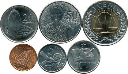 1 Pesewa bis 1 Cedi 2007, Sechs Kursmünzen, diverse technische Parameter