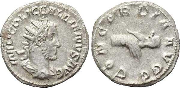 Gallienus (253–268). Antoninian, Mzst. Rom. Büste mit Strahlenkrone nach rechts, Umschrift: IMP C P LIC GALLIENVS AVG Rs. Handschlag, Umschrift: CONCORDIA AVGG