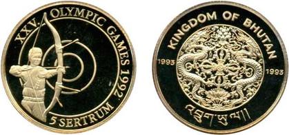 5 Sertrum 1993, XXV. Olympische Spiele in Barcelona 1992, Gold 583,33/1000, 7,78 g, Ø 25,00 mm, 3.000 Exemplare