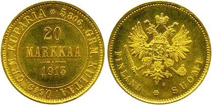 20 Markkaa 1913, Kursmünze, Gold 900er, 6,4516 g, Ø 21,5 mm