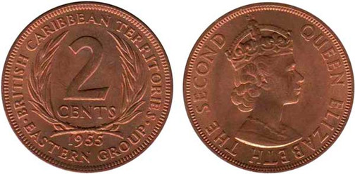 2 Cents 1955, British Caribbean Territories Eastern Group, Kursmünze, Bronze,  9,45 g, Ø 30,9 mm, Münzstätte British Royal Mint