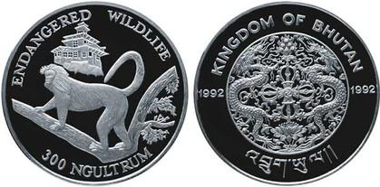 300 Ngultrum 1992, Bedrohte Tierwelt,  Silber 925/1000, 31,47 g, Ø 38,61 mm, 10 000 Exemplare