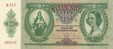 10 Pengö vom 22.12.1936, Vorderseite