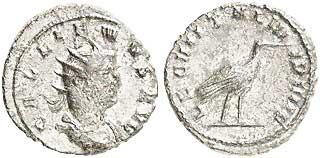 Gallienus (253–268). Antoninian 260/261, Münzstätte Mediolanum. Brustbild mit Strahlenkrone nach rechts, Umschrift: GALLIENUS AVG Rs.: Storch mit Umschrift: LEG III ITAL VII P VII F