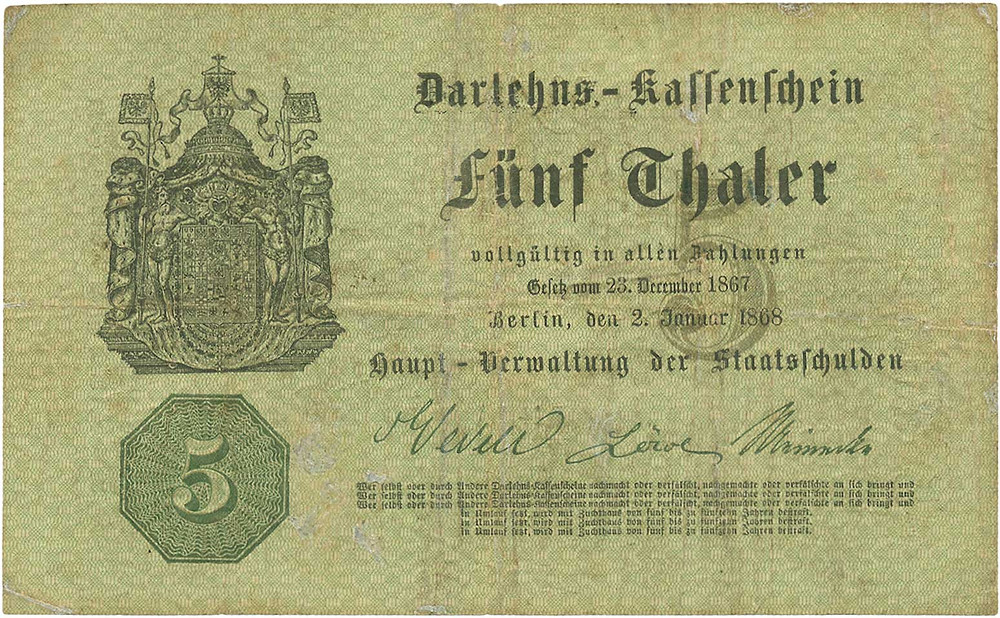 GK-290, Preußen, Haupt-Verwaltung der Staatsschulden, 5 Thaler vom 2.1.1868
