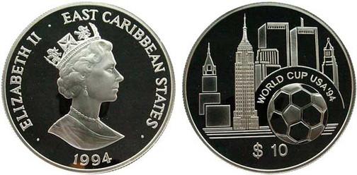 10 Dollars 1994, East Caribbean States, Fußball-WM in den USA, 925er Silber,  28,28 g, Ø 38,61 mm, Münzstätte British Royal Mint