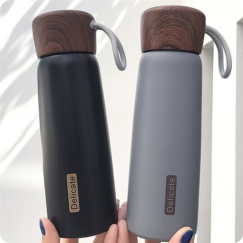 500ml Stainless Steel Water Bottle with Wood Grain Lid