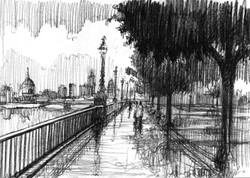 London Southbank in the rain
