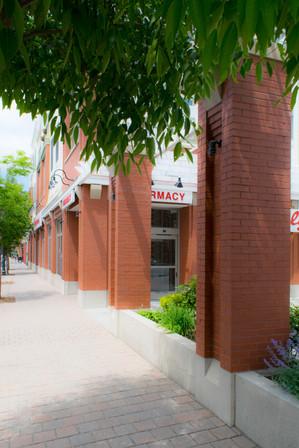 Brick Columns Along Sidewalk