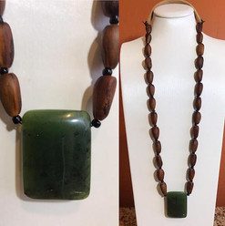 Pine Nut Beaded w/ Jade Pendant Necklace