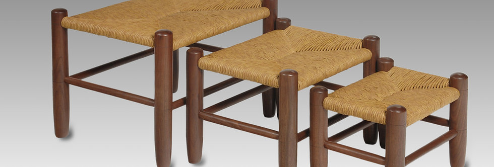 Foot Stools in Black Walnut, Chalet Style