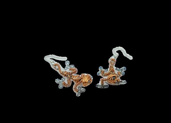 Copper Gecko Earrings