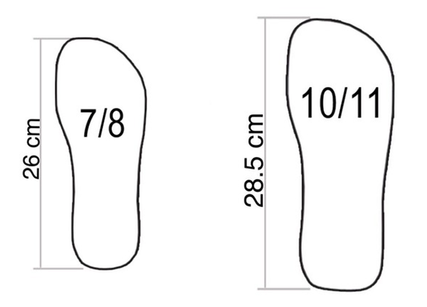 Subs flip flops sizing example