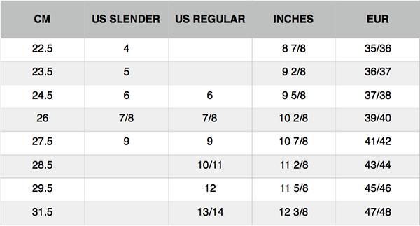 Subs Flip Flop Size Guide