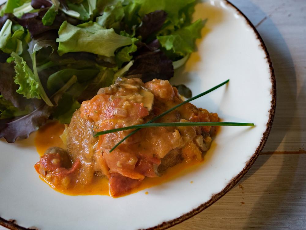 Veggie Godon Bleu with creamy tomato sauce