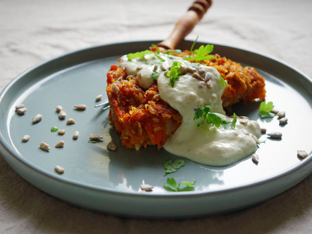 """Vegan, Gluten Free Carrot Loaf with Caramelized Onion and a Stone Ground Mustard """"Cream"""" S"""