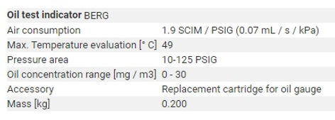 basınçlı hava için yağ tespit indikatörü