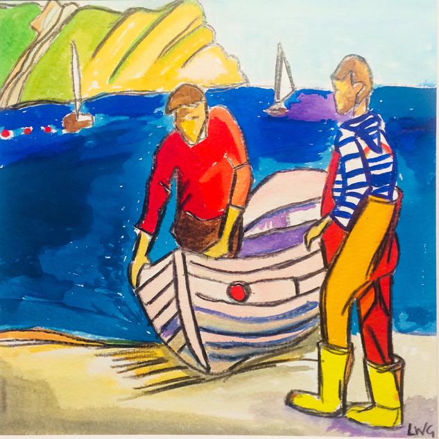 Fishermen at Lulworth Cove