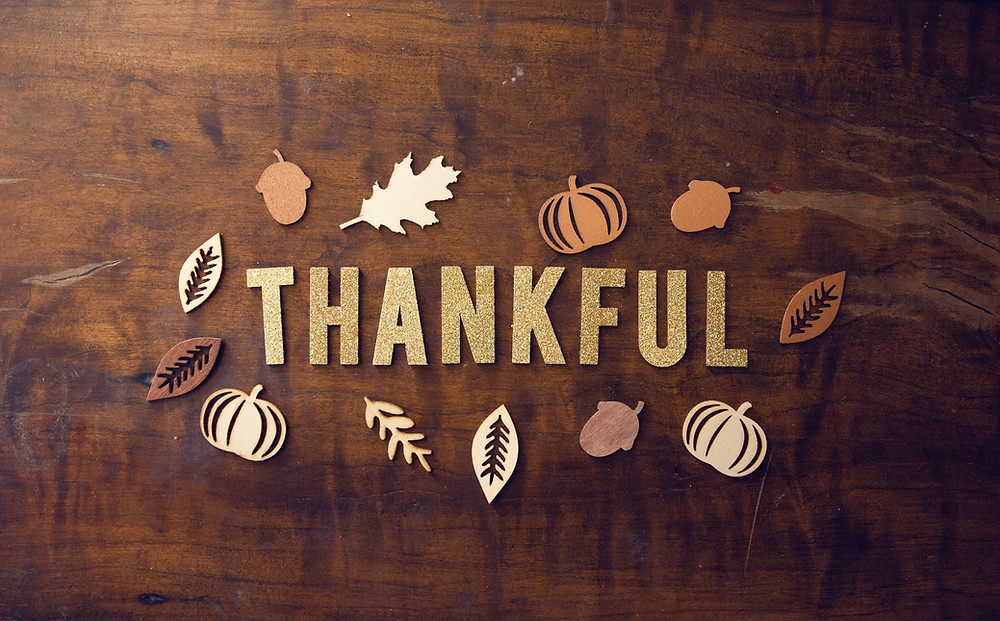 Julie Garrido sees the word Thankful, leaves and pumpkins & knows yoga meditation & journaling bring Thanksgiving joy