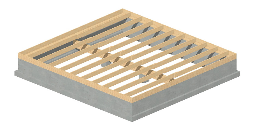 This is an example of a raised floor foundation / framing. One can see the continuous stem wall and footing around the perimeter and the piers down the center to carry the load of the girder.