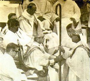 Bishop Phillip Straling receiving the Bishop's c