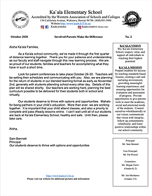 Ka'ala's Parent Newsletter