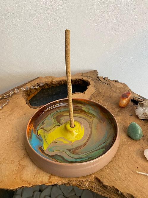 Seramik Tütsülük - Kozmos Sarı/Kiremit