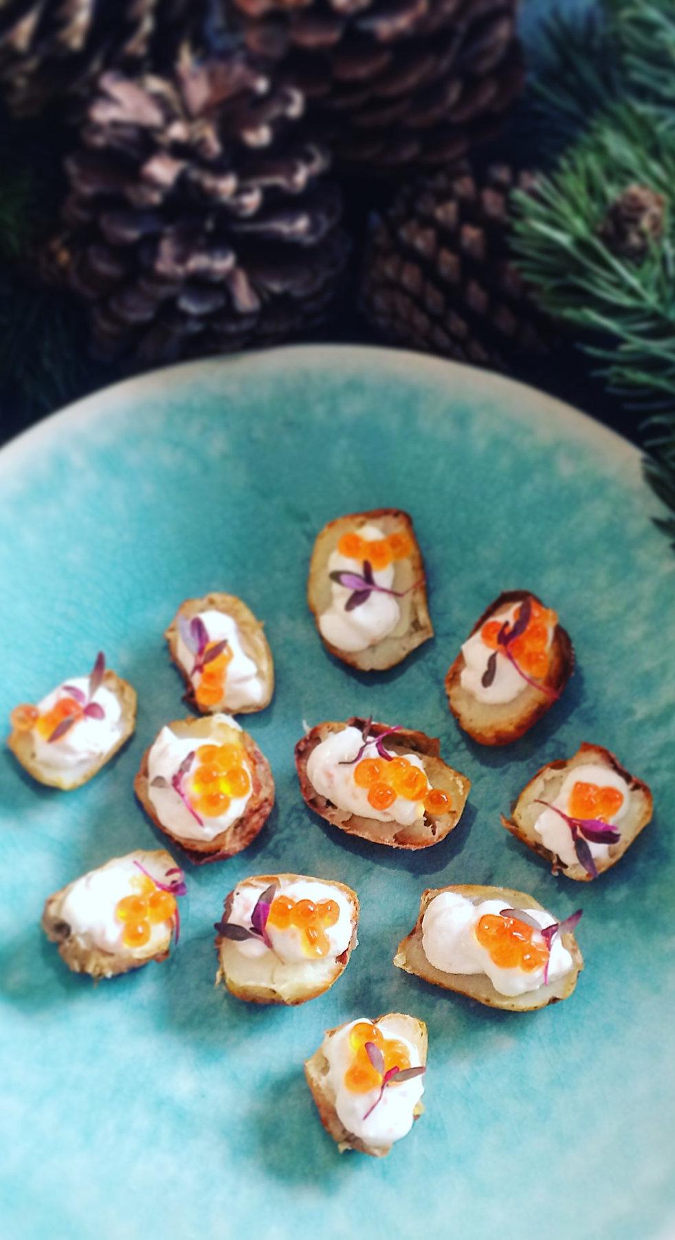 Salt baked new potatoes, salmon mousse,