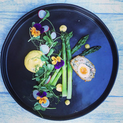 Asparagus, crab scotch egg, mustard mayo