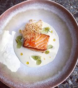 Salmon tataki, ajoblanco