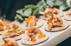 Crayfish salad with salmon roe