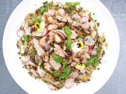 Roast chicken and freekeh salad
