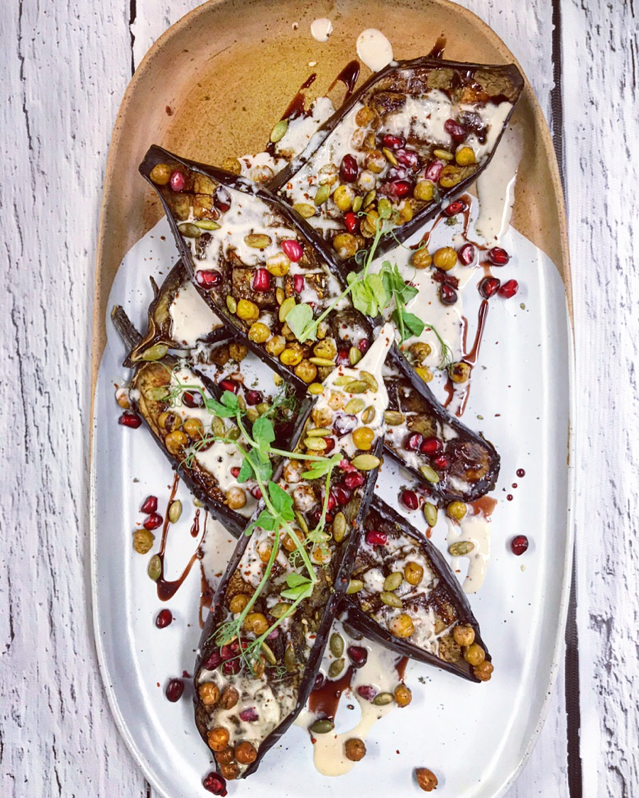 Roasted aubergines, crispy chickpeas and