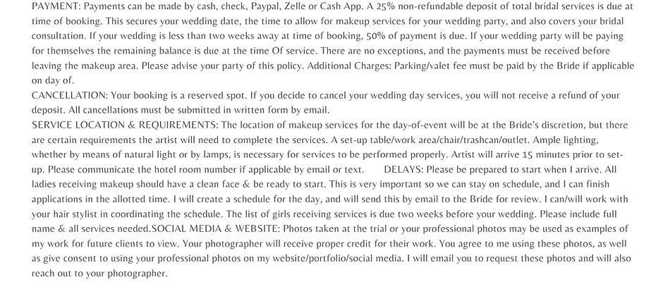 Bridal Contract Deposit