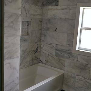 Carrara marble - slate bathroom