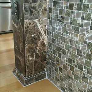 quartz-marble counter, glass grout