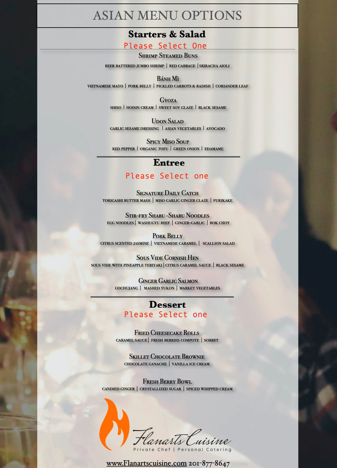 Asian menu otions.
