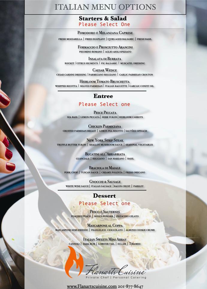 Italian menu options.