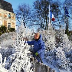 Flocage neige artificielle en cours