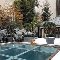 Végétation floquée et neige au sol avec neiges artificielles Regular Snow et Versailles