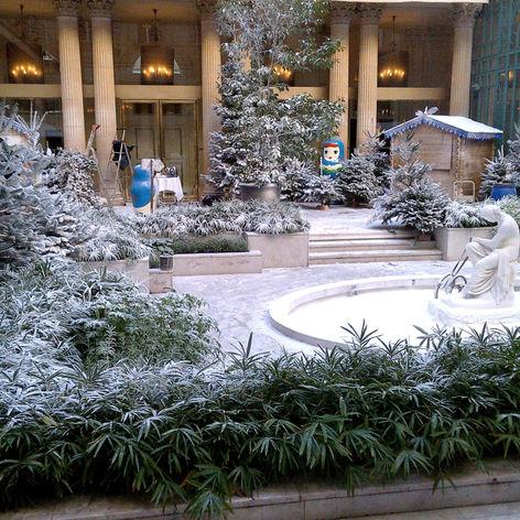 Décor de neige artificielle Regular Snow dans cour intérieur d'hôtel