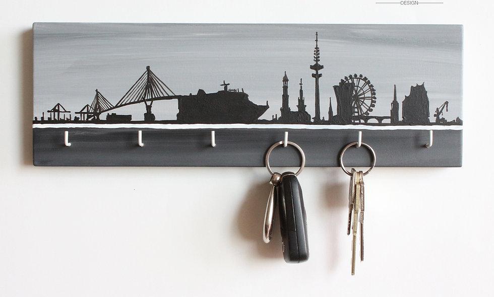 Schlüsselbrett Skyline Hamburg