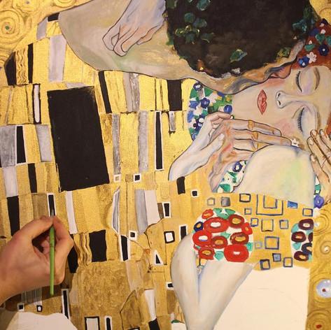 """Reproduktion """"Der Kuss"""" von Gustav Klimt. 130cm x 170cm"""